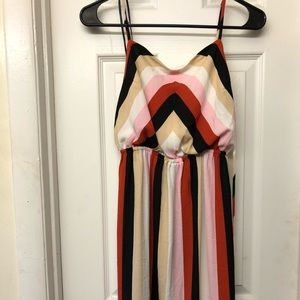 Forever 21 Pink and Orange Stripe Summer Dress